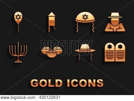 Set Jewish Sweet Bakery, Orthodox Jewish Hat, Tombstone With Star Of David, Hanukkah Menorah, Kippah