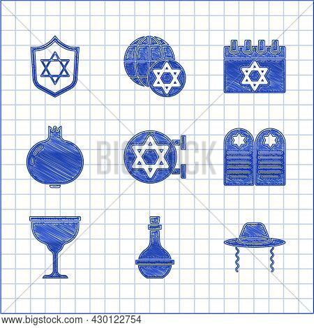 Set Jewish Synagogue, Wine Bottle, Orthodox Jewish Hat, Tombstone With Star Of David, Goblet, Pomegr