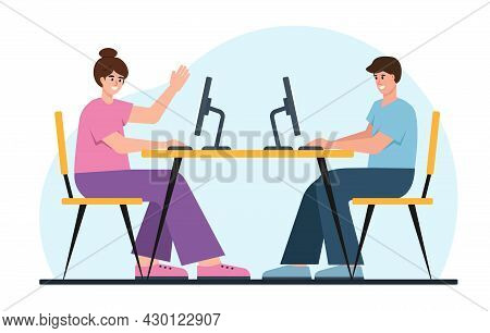 Young Business People Working Togeter At Computers. Man And Woman On Work Place. Male And Female Cha