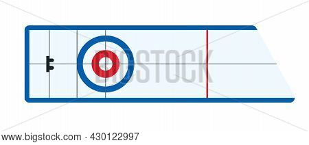 Curling House Top View. Ice Rink Or Playground For Curling Game. Winter Sport Flat Vector Illustrati