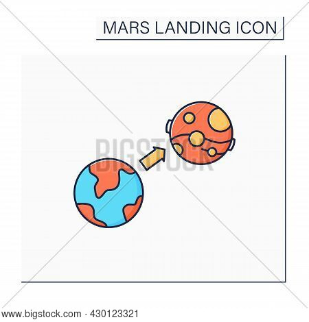 Mars Mission Color Icon. Flight From Earth To Mars. Research And Development Fourth Planet. Uninhabi