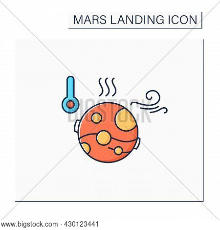 Mars Climate Color Icon.poor Climatic Living Conditions.mars Landing Concept. Isolated Vector Illust