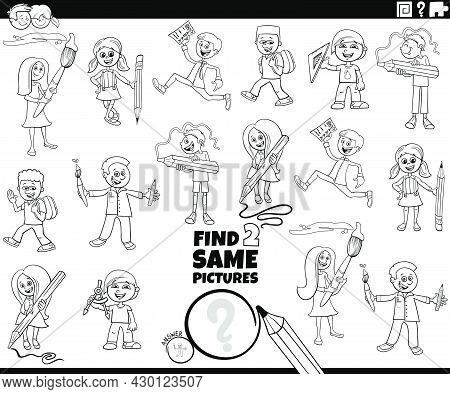 Black And White Cartoon Illustration Of Finding Two Same Pictures Educational Game With Comic Pupils