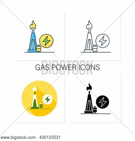 Gas Power Icons Set. Power Station. Thermal Stations Burn Natural Gas. Electricity Generation Concep