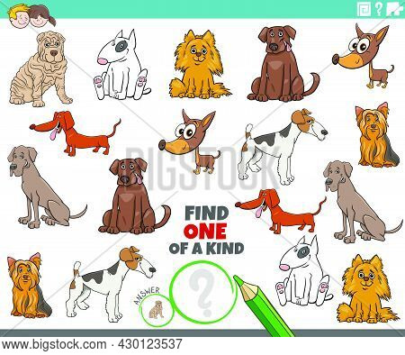 Cartoon Illustration Of Find One Of A Kind Picture Educational Task With Funny Purebred Dogs Animal