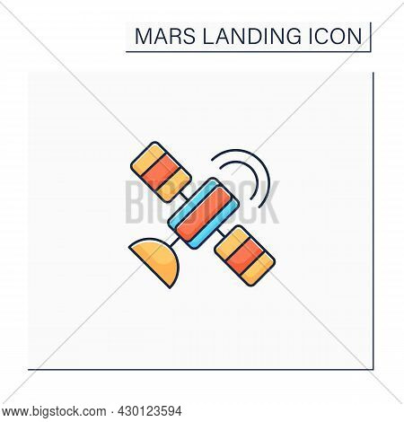 Satellite Color Icon.artificial Satellite Placed In Earth Orbit. Observation From Space. Mars Landin