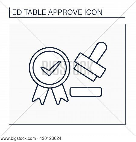 Approved Seal Line Icon. Seal Which Approves Documents, Law And Regulations. Important Laws Tool. Co