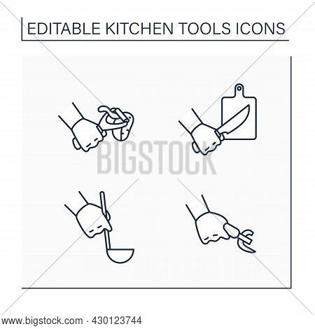 Kitchen Tools Line Icons Set. Cooking Utensils. Cutting Board, Can Opener, Peeler, Ladle. Kitchen Eq