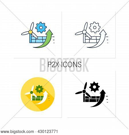 P2x Icons Set. Electricity Conversion, Energy Storage, And Reconversion Pathways.wind And Solar Ener