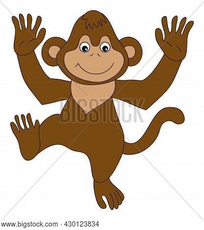 Cute Funny Happy Monkey Dancing. Vector Monkey. Baby Monkey Vector Illustration