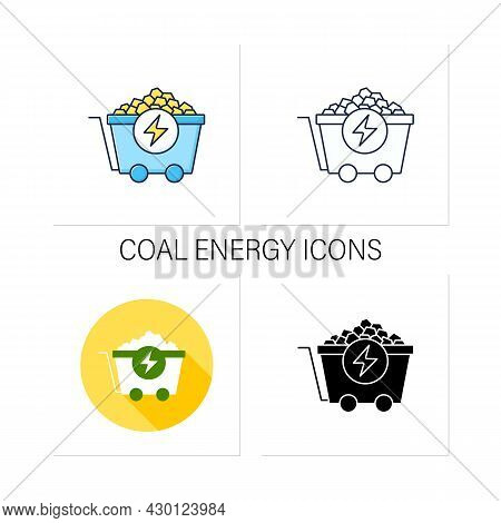 Coal Energy Icons Set. Nonrenewable Energy Source. Fuel To Generate Electric Power. Electricity Conc