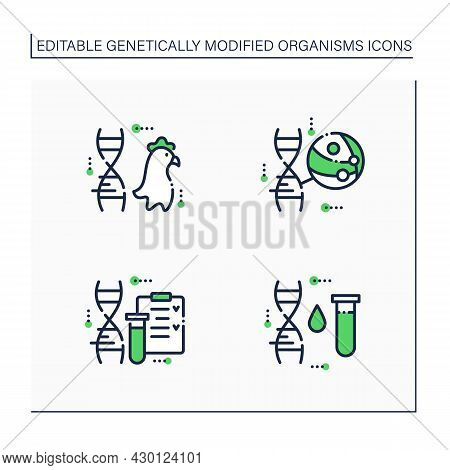 Genetically Modified Organism Line Icons Set. Genetic Engineering.chicken Meat. Altered Dna, Test Tu