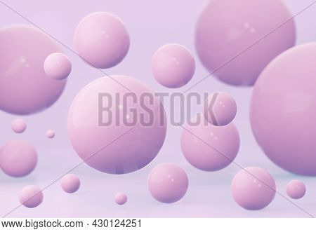 Pink Spheres Of Balls On Pink Background. 3d Rendering.