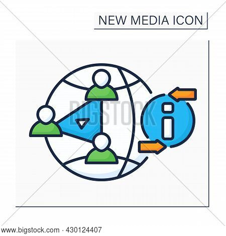 P2p File Sharing Color Icon. Peer To Peer Sharing. Access Media Files Books, Music, Movies, And Game
