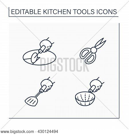 Kitchen Tools Line Icons Set. Cooking Utensils. Pizza Cutter, Shears, Stainer, Spade. Kitchen Equipm