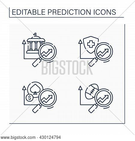 Predictive Analytics Line Icons Set. Health Insurance, Government, Casinos, Sports Predictive Analyt