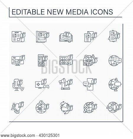 New Media Line Icons Set. Transmitting, Sharing, Reproducing Information. Information Space Concept.