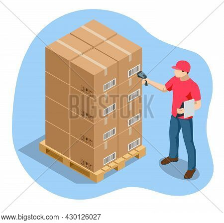 Warehouse Manager Or Warehouse Worker With Bar Code Scanner Checking Goods On Storage Racks. Stock T
