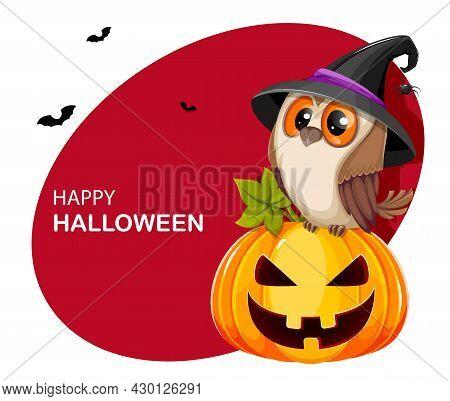 Happy Halloween Greeting Card. Cute Owl Sitting On Pumpkin Jack O Lantern With Creepy Face. Stock Ve
