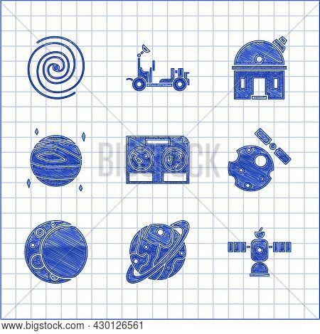Set Celestial Map Of The Night Sky, Planet Saturn, Satellite, Satellites Orbiting Planet Earth, Moon