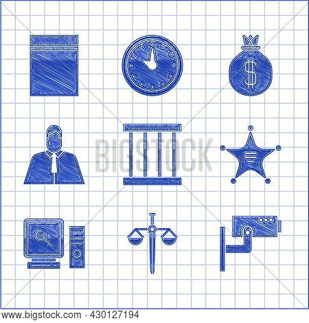 Set Prison Window, Scales Of Justice, Security Camera, Hexagram Sheriff, Search Computer Screen, Law