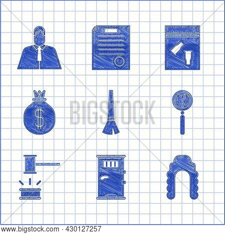 Set Paint Brush, Prison Cell Door, Judge Wig, Magnifying Glass With Search, Gavel, Money Bag, Eviden