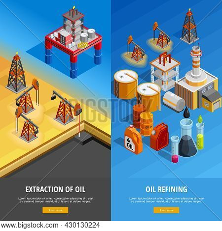 Gas Oil Industry Production Facilities 2 Isometric Vertical Banners Webpage Design With Offshore Pla