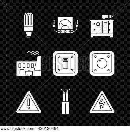 Set Led Light Bulb, Ampere Meter, Multimeter, Voltmeter, Diesel Power Generator, Exclamation Mark In