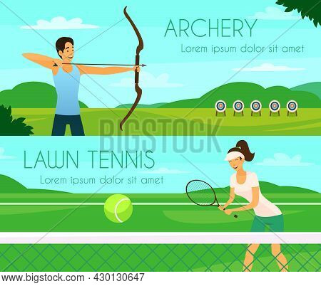 Sport People Colorful Horizontal Banners With Young Girl Playing Tennis And Archer Shooting At Targe