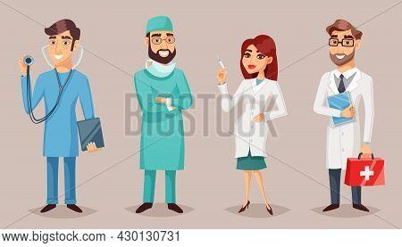 Health Care Nursing Medical Professionals People Retro Cartoon Poster Set With Practitioner Nurse Su