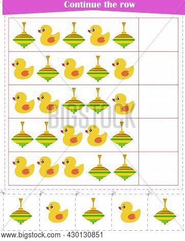 Logic Game For Children. We Continue The Rows Of Toys. Vector Illustration