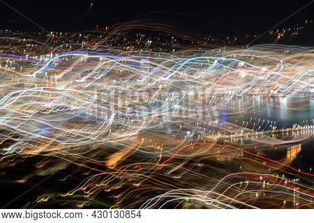 Abstract Effect Wellington City Urban Bright Night Lights Across City With Wave And Color Pattern Sh