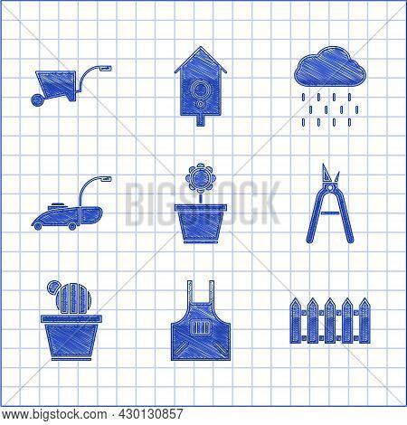 Set Flower In Pot, Kitchen Apron, Garden Fence Wooden, Gardening Handmade Scissors, Cactus Succulent