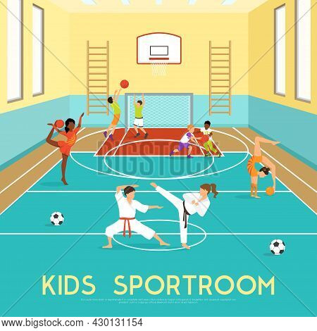 Poster Of Sportroom Where Kids Doing Gymnastics Training In Martial Arts And Playing Basketball Flat