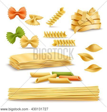 Dry Pasta Types Assortment Of Spaghetti Shells Colored Butterflies And Fusilli Springs Realistic Ico
