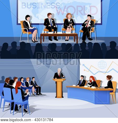 Business World International Conference Presentations 2 Flat Vectors Set With Public Speaking Partic