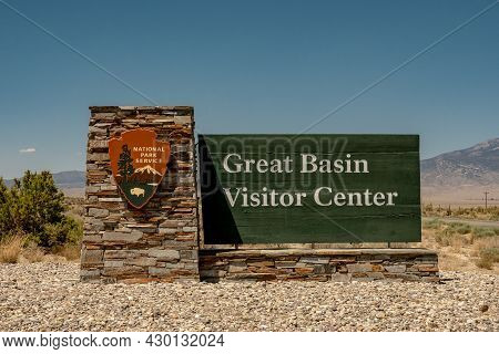 Great Basin National Park, United States: August 6, 2020: Sign For Great Basin Visitor Center In Eas