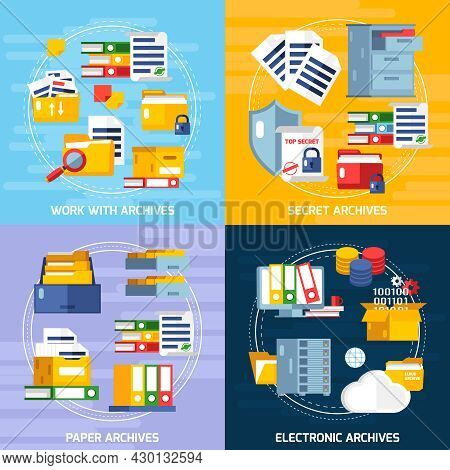 Archive Concept Icons Set With Electronic And Paper Archives Symbols Flat Isolated Vector Illustrati
