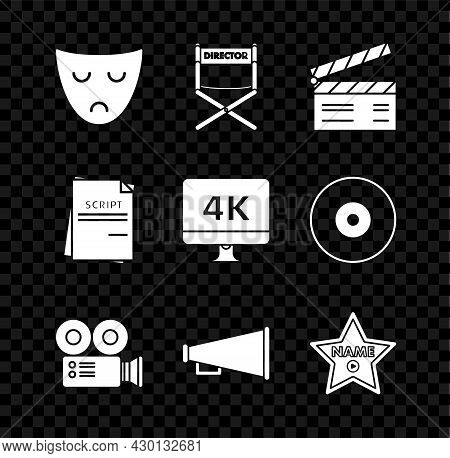 Set Drama Theatrical Mask, Movie Clapper, Cinema Camera, Megaphone, Hollywood Walk Of Fame Star Cele