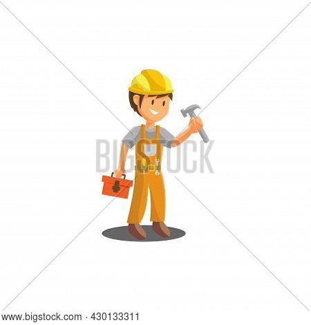 Repair Man Holding Hammer Worker Mechanic Workshop Emblem Badge Mascot Illustration