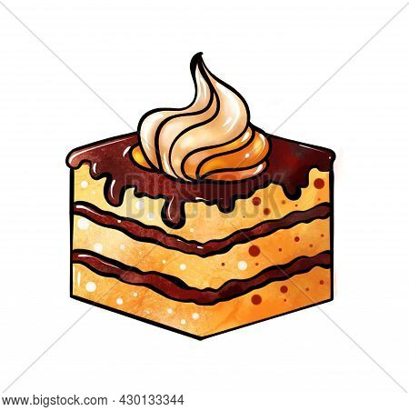 Llustration Of A Colored Drawing Of Sweets: A Piece Of Cake With Layers Of Yellow Brown, Drenched In