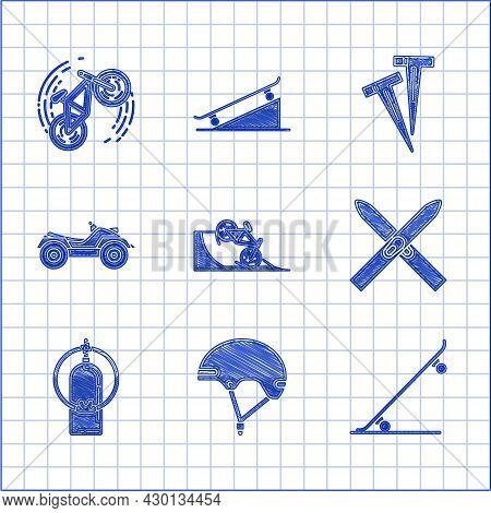 Set Bicycle On Street Ramp, Helmet, Skateboard, Ski And Sticks, Aqualung, All Terrain Vehicle Or Atv