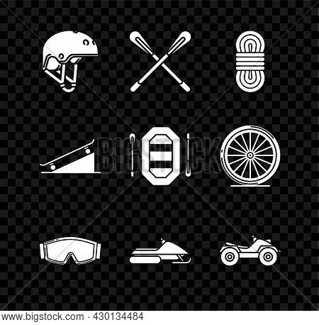 Set Helmet, Crossed Paddle, Climber Rope, Ski Goggles, Snowmobile, All Terrain Vehicle Or Atv Motorc