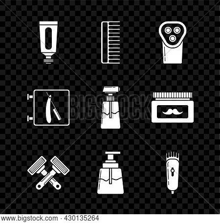 Set Cream Or Lotion Cosmetic Tube, Hairbrush, Electrical Hair Clipper Shaver, Crossed Shaving Razor,