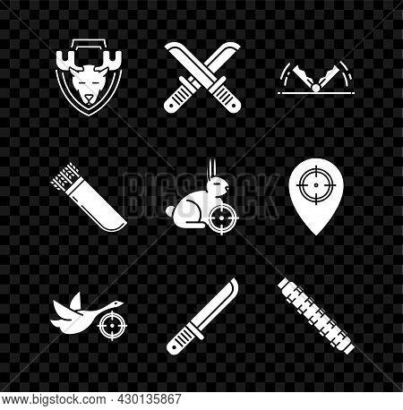 Set Moose Head On Shield, Crossed Hunter Knife, Trap Hunting, Hunt Duck With Crosshairs, Hunter, Hun
