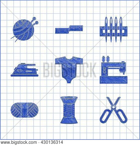 Set Baby Clothes, Sewing Thread On Spool, Scissors, Machine, Electric Iron, Needle For Sewing And Ya