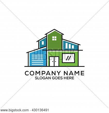 Flat Design Real Estate Logo Vector, Modern House Agency Logo, Can Be Used As Symbols, Brand Identit