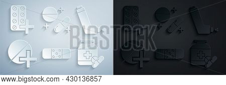 Set Bandage Plaster, Inhaler, Medicine Pill Or Tablet, Bottle Pills, And Pills Blister Pack Icon. Ve