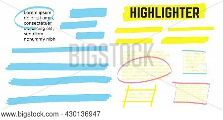 Yellow Highlight Marker Lines. Highlighter Strokes And Drawing Design.
