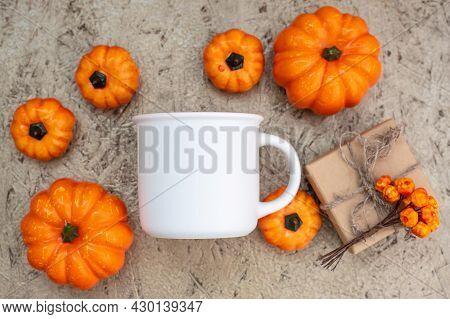 Mug Mockup Flat Lay. White Coffee Cup Mock Up. Blank Mug Printing Design Template. Autumn, Halloween